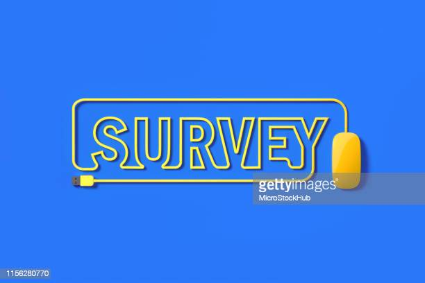 yellow mouse cable forming survey text on blue background - questionnaire stock pictures, royalty-free photos & images