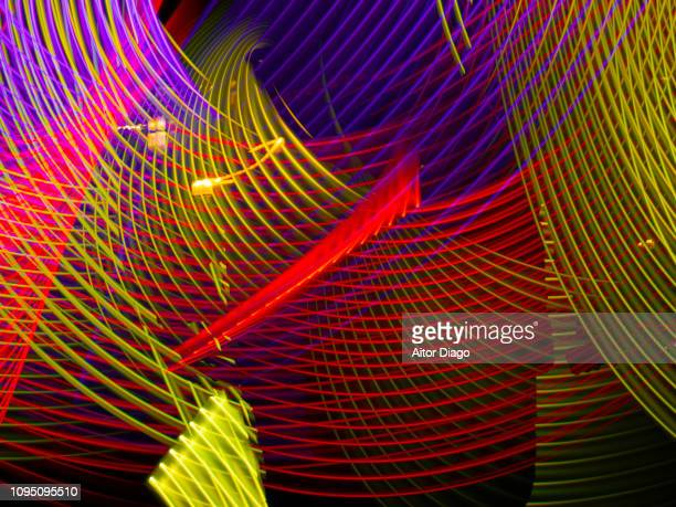 yellow, musical notes. red, purple and red curved lines forming a net in 3d. - futurism stock photos and pictures