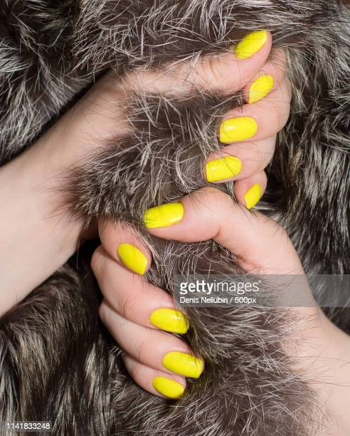 yellow nails manicure - enamel stock pictures, royalty-free photos & images