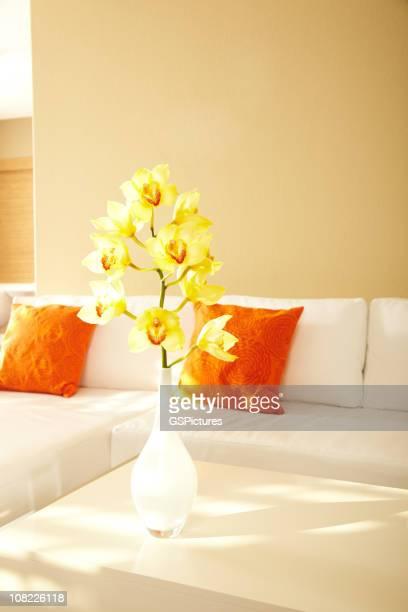 Gelbe Orchideen in modernen Haus