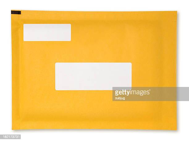 yellow padded envelope with blank white labels - envelope stock pictures, royalty-free photos & images