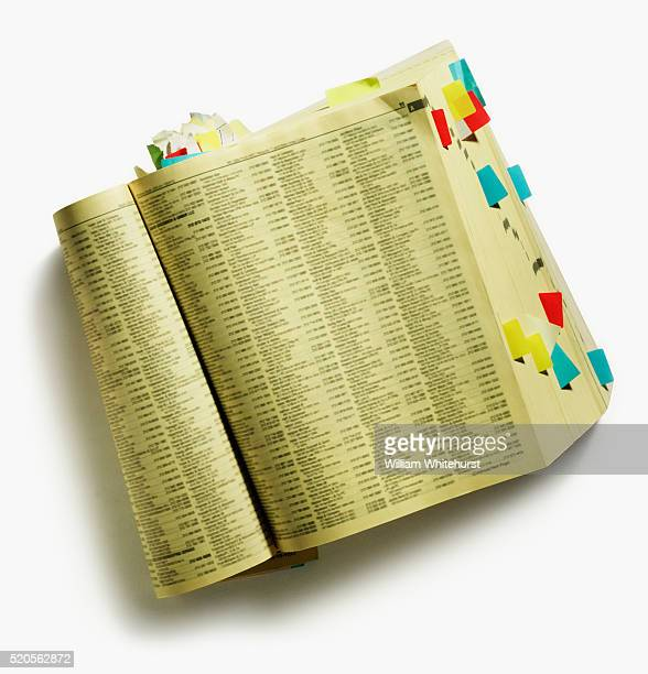 Yellow Pages Marked with Tabs