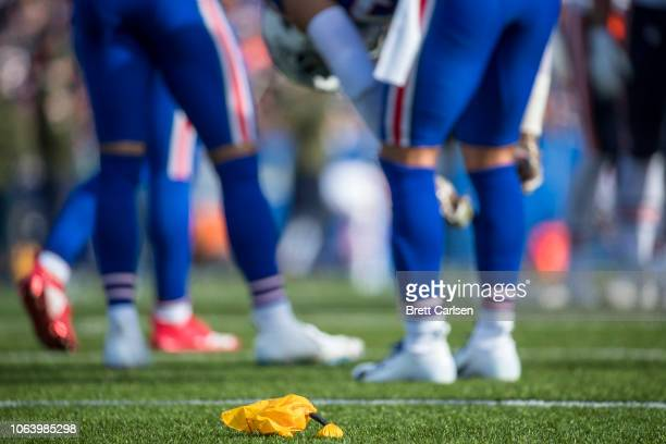 A yellow penalty flag on the field during the game between the Buffalo Bills and the Chicago Bears at New Era Field on November 4 2018 in Orchard...