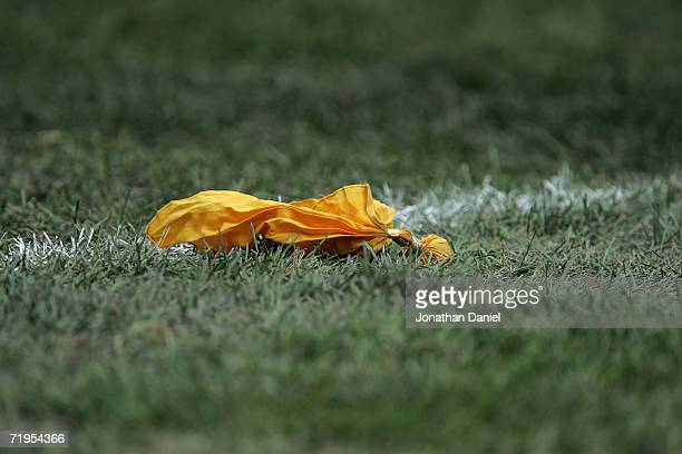 A yellow penelty flag is seen on the field during the game between the Chicago Bears and the Detroit Lions September 17 2006 at Soldier Field in...