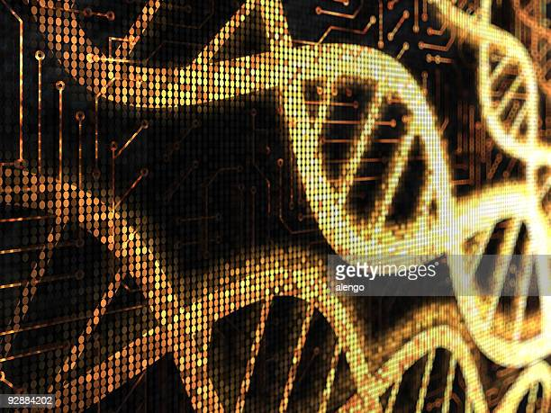 Yellow pixelated DNA strands on a black background