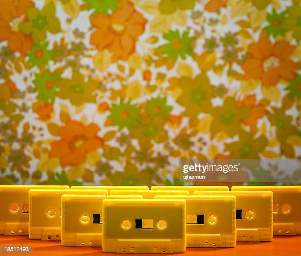 Yellow Plastic Cassette Tapes Arranged Standing Upright