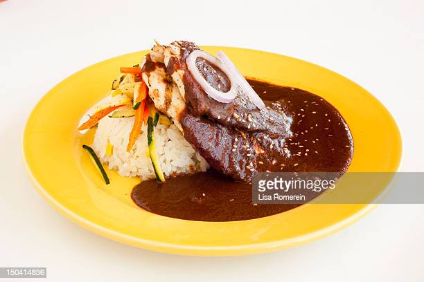 yellow plate with grilled chicken & rice with mole - mole sauce stock pictures, royalty-free photos & images