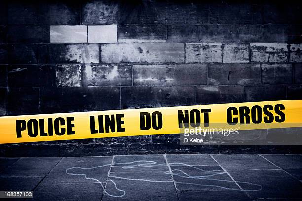 Yellow police line on crime scene
