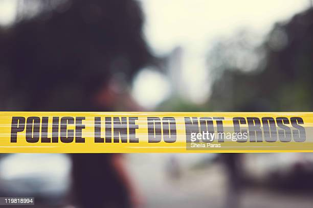 yellow police tape - cordon tape stock pictures, royalty-free photos & images