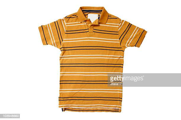 黄色のポロシャツ、ホワイト/ブルーストライプ、白背景 - ポロシャツ ストックフォトと画像