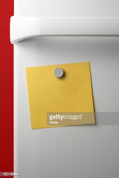 Yellow post it held on a fridge with one magnet