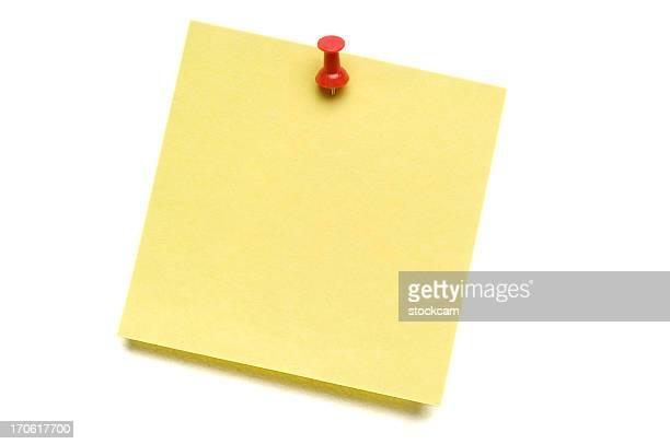 Der gelben Post-it mit Push-Pin