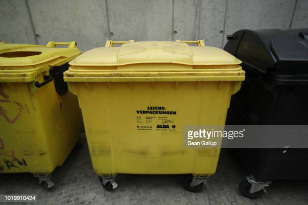 Yellow recycling bins for packaging materials stand on August 20 2018 in Berlin Germany According to data for 2016 recently released by Germany's...