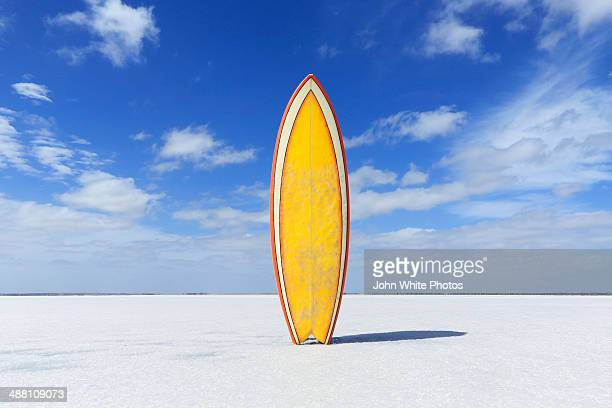 Yellow retro surfboard