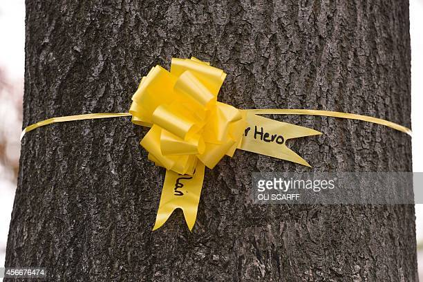A yellow ribbon for murdered British hostage Alan Henning is tied to a tree in the town centre of Eccles north west England on October 5 2014 Britain...