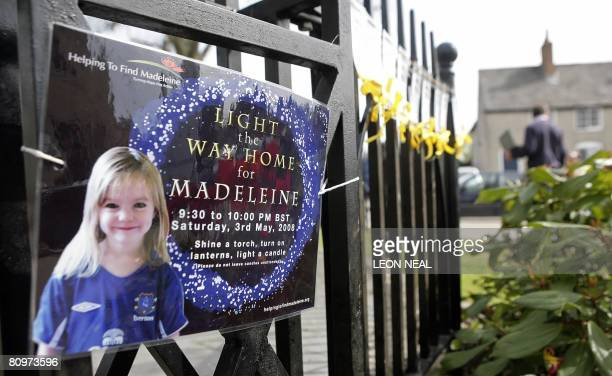 Yellow ribbons and messages are tied to a fence in the village of Rothley Leicestershire prior a church service on the day of the first anniversary...