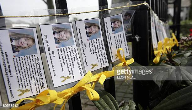 Yellow ribbons are tied to a fence in the village of Rothley Leicestershire on the day of the first anniversary since the disappearance of Madeleine...
