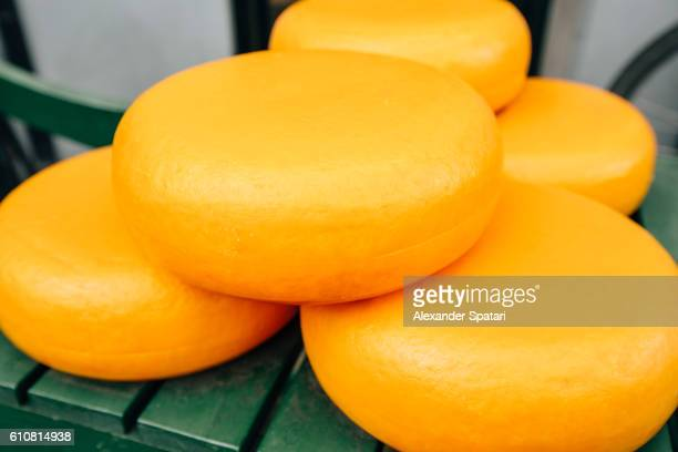 Yellow Rind Dutch cheese, Gouda on the market in Amsterdam, Netherlands