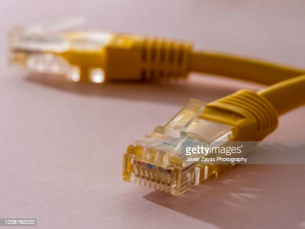 yellow rj54 ethernet connector - pink hub stock pictures, royalty-free photos & images