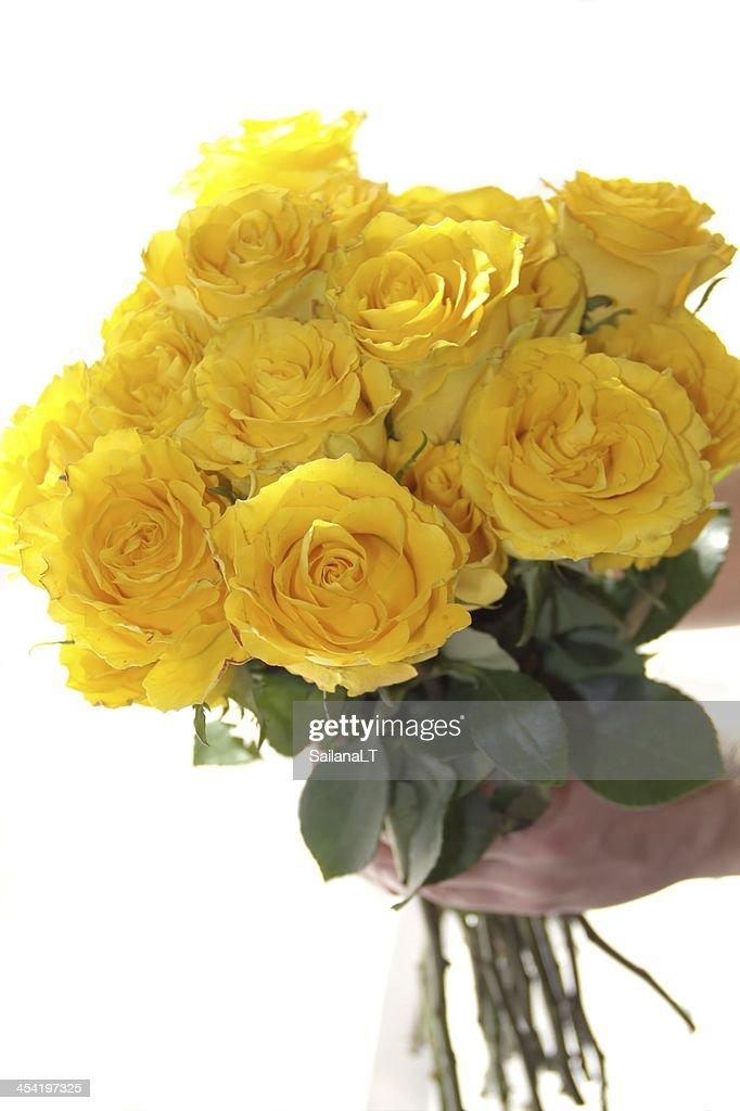 Rosa amarela bouquet de flores na Mão : Foto de stock