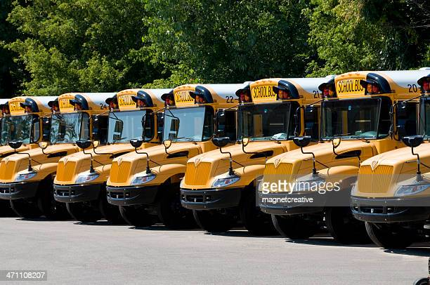 yellow school bus fleet in order - convoy stock pictures, royalty-free photos & images