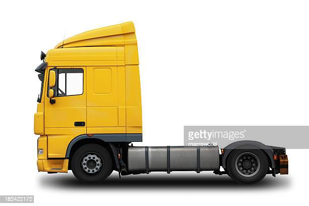 Yellow semi truck with a white background