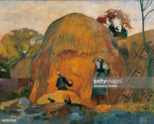 Yellow Sheaves, by Paul Gauguin 19th Century, oil on canvas, 73 x 92 cm. France, Paris, Musée d'Orsay. Whole artwork view. Landscape with a large...