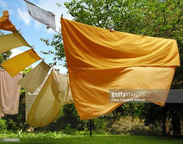 Yellow sheet of clothes line blowing in wind