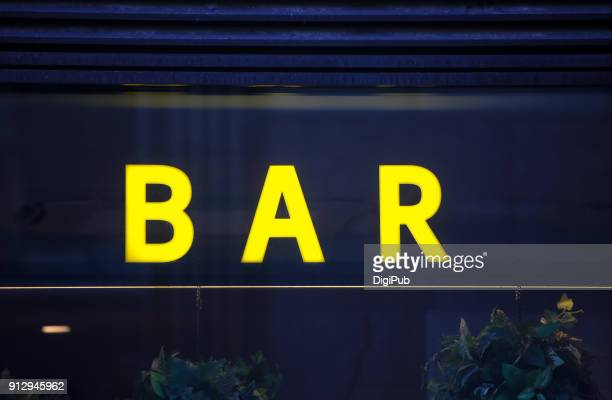 "Yellow sign ""BAR"""