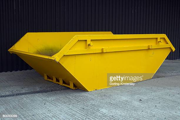 yellow skip - garbage bin stock pictures, royalty-free photos & images
