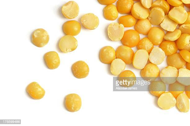 yellow split peas scattered - yellow stock pictures, royalty-free photos & images