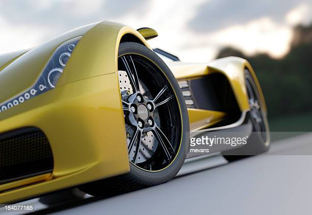 Yellow sport car from low view
