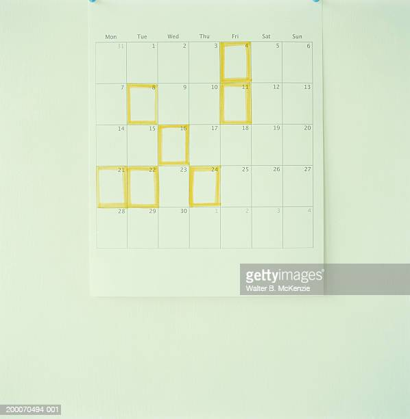 Yellow squares highlighting days on calendar