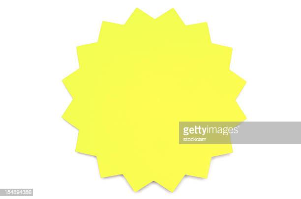Yellow star Post-it Note on white