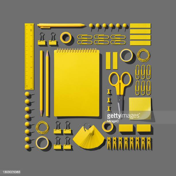 yellow stationery collection knolling on gray - order stock pictures, royalty-free photos & images
