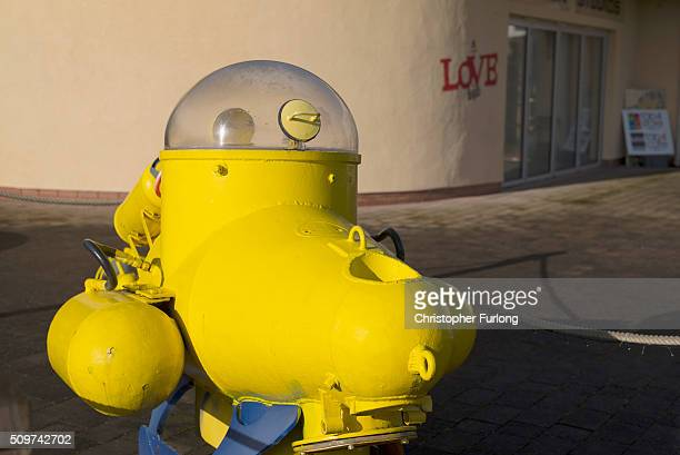 A yellow submarine and murals decorate the Penny Lane Community Centre on February 11 2016 in Liverpool England New research commissioned by...