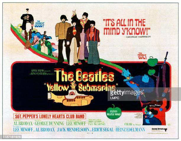 Yellow Submarine poster center from left The BeatlesGeorge Harrison Paul McCartney JOhn Lennon Ringo Starr 1968