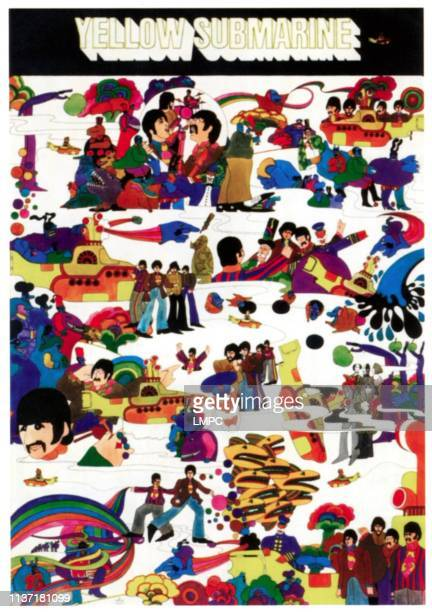 Yellow Submarine poster The Beatles in collage of characters from film on French poster art 1968