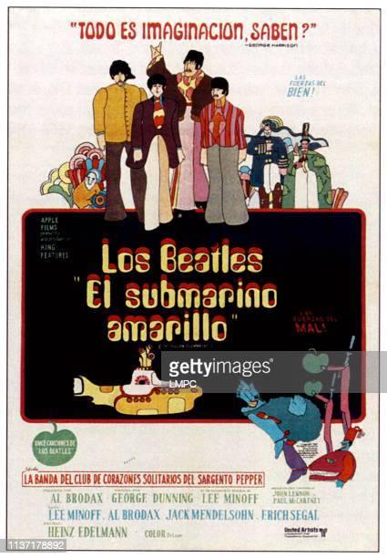 Yellow Submarine poster The Beatlestop from left George Harrison Paul McCartney John Lennon Ringo Starr on Argentinean poster art 1968