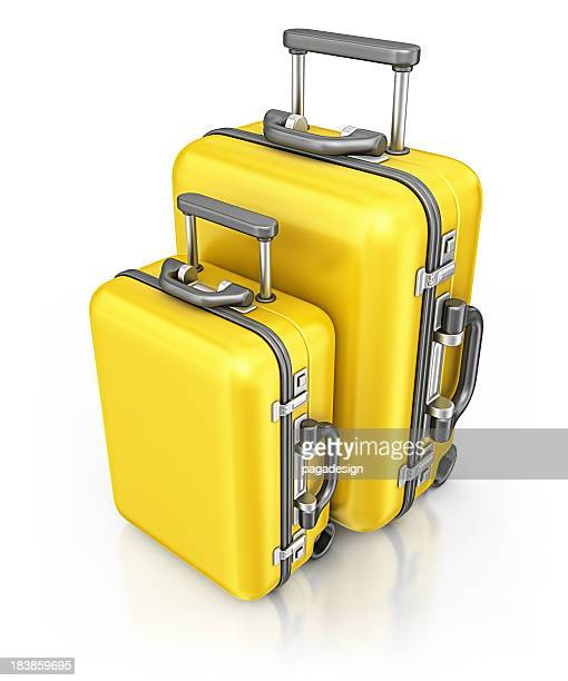 yellow suitcases - two objects stock pictures, royalty-free photos & images