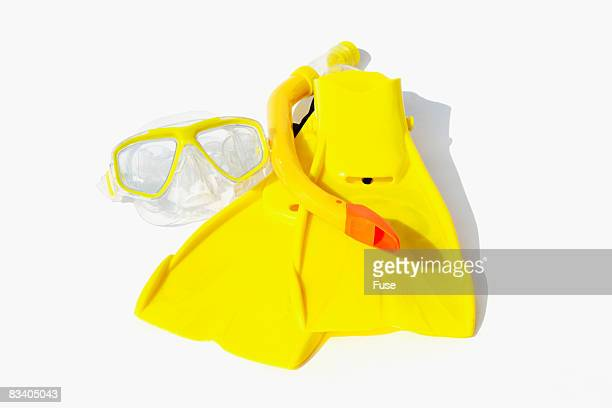 Yellow Swim Fins,  Mask and Snorkel