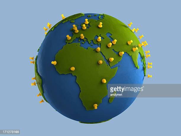 Yellow Tacks on Globe (Africa)