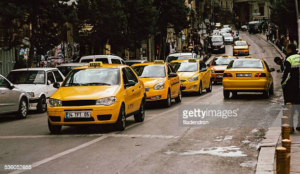 yellow taxi in istanbul - yellow taxi stock pictures, royalty-free photos & images