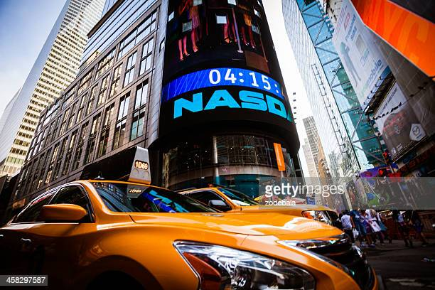 Yellow Taxi in Times Square of New York City, Manhattan