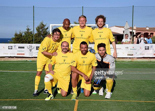 Yellow Team poses before the Porto Cervo Summer 2015 Fiveaside Football Tournament Day One on June 22 2015 in Porto Cervo Italy