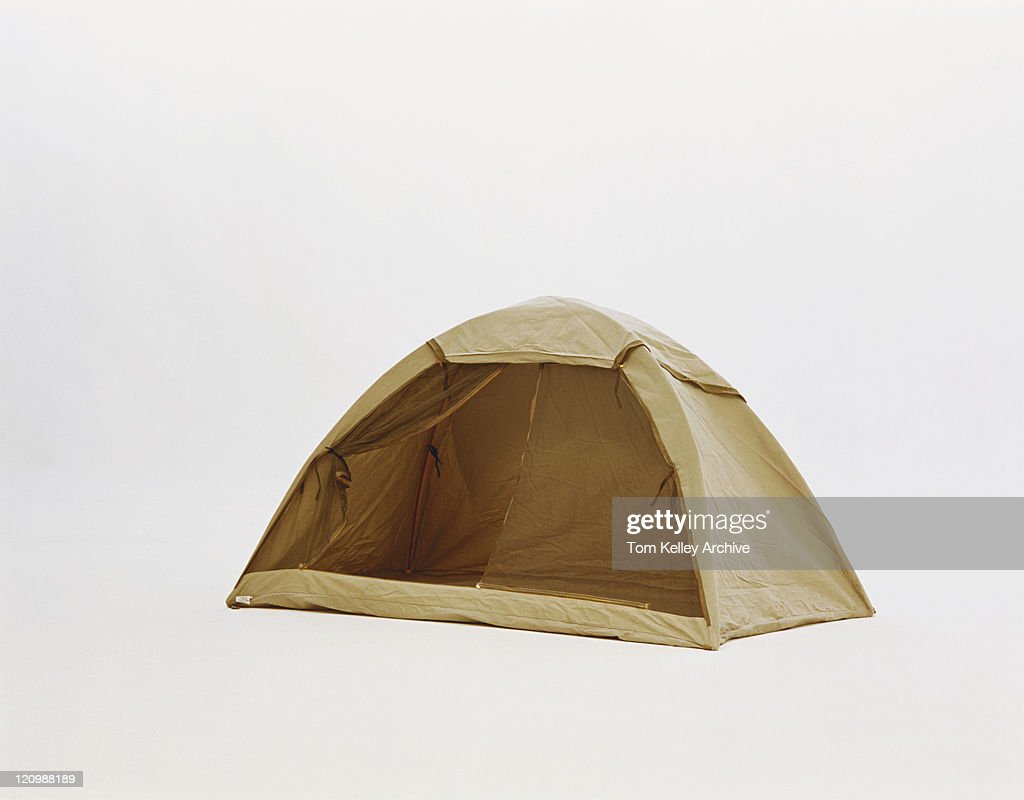Yellow tent on white background : Stock-Foto