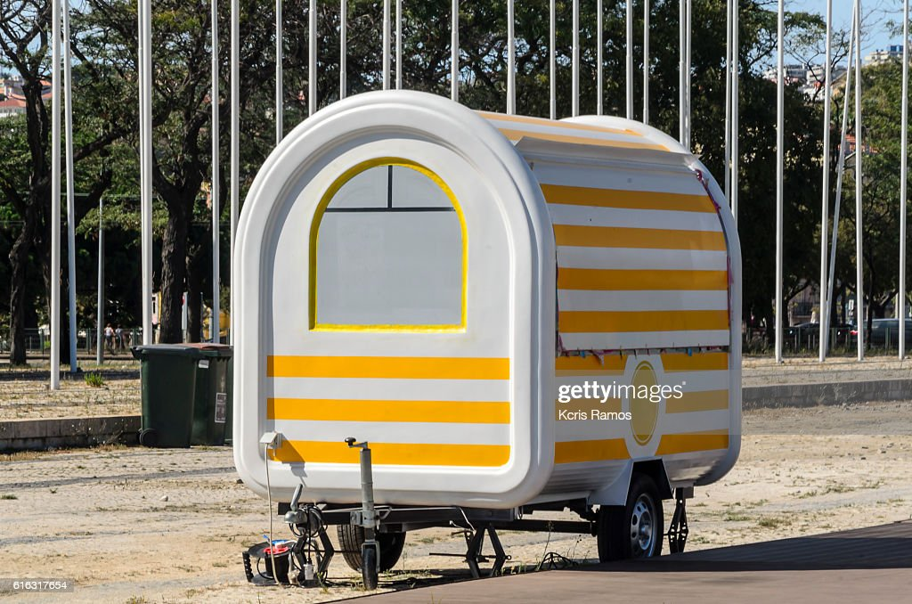 yellow trailer : Stock Photo