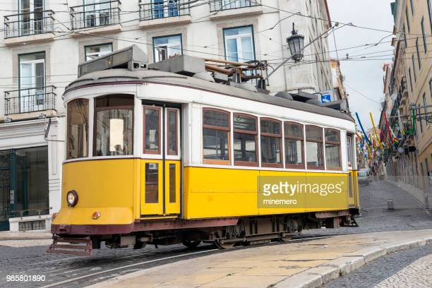 yellow tram in lisbon - cable car stock pictures, royalty-free photos & images