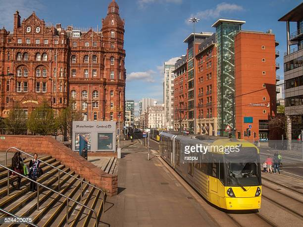 A yellow tram in Manchester
