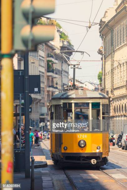 Yellow tram in Milan